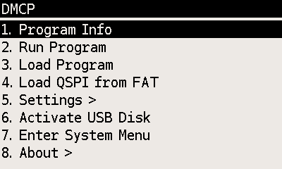 DMCP System menu